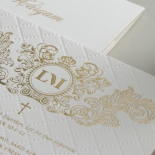 Quilted Half Pocket Royal Crest with Foil - Wedding Invitations - WP307GG - 183808