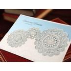 White pocket with blue inner paper, matte lasercut wedding invitation