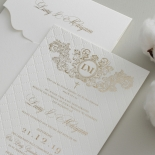 Quilted Half Pocket Royal Crest with Foil - Wedding Invitations - WP307GG - 183809