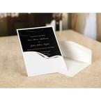 White pocket invite with gems and swirl design and envelope, black digital printed inner card