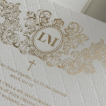 Quilted Half Pocket Royal Crest with Foil - Wedding Invitations - WP307GG - 183812