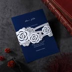 Modern detail white wildflower designed pocket invite with digital printed cursive name font inner card
