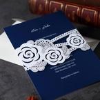 Dark blue digital printed cursive names font inner card with laser cut wild flower design pocket invite