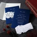 Envelope and white modern floral themed laser cut pocket invitation, dark blue inner card , with envelope