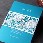 Aqua digital printed inner card and white modern designed laser cut pocket invite