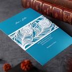 Digital printed aqua inner card and white laser cut designed pocket invite