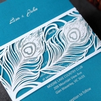 Modern white laser cut pocket invite, band type, with digital printed inner card
