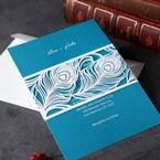 Custom digital printed light blue inner card with laser cut quill designed pocket invite
