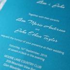 Digital printed light blue inner card, closeup, laser cut peacock invite
