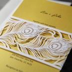 Yellow/Gold Mystic Forest Band Laser Cut - Wedding invitation - 14