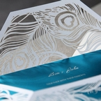 White peacock feather themed invitation with laser cut sleeve, digitally printed