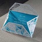 Turquoise digital printed classic fon inner card, semi folded white peacock designed wrap