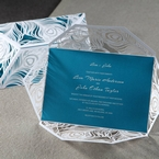 Traditional font turquoise inner wedding card digital printed, unfolded white peacock wrap,cropped