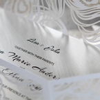 Raised black wedding invitation text on white pear paper