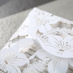 White Lily Blossoms Laser Cut Wrap - Anniversary Cards - 93