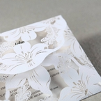 White Lily Blossoms Laser Cut Wrap - Anniversary Cards - 95