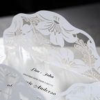 White Lily Blossoms Laser Cut Wrap - Wedding invitation - 56