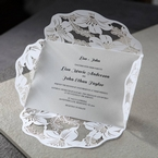 White Lily Blossoms Laser Cut Wrap - Corporate Invitation - 36