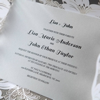 White Lily Blossoms Laser Cut Wrap - Wedding invitation - 59