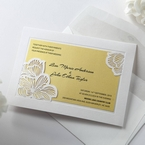 Yellow/Gold Laser Cut Flower Frame III - Wedding invitation - 33