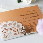 Orange Laser Cut Floral Frame - Corporate Invitation - 65