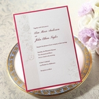 Pink bordered flat layered wedding card with classic floral design