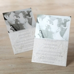 White sleeved invitation with photo and embossed accent