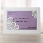 Pocket style wedding card accented with wild flower patterned laser cut design, thermography printed and purple insert