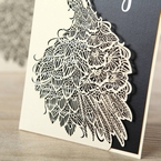 Black Peacock Laser Cut Pocket With Foil - Hens Night Invitations - 0