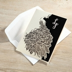 White laser cut pocket invitation with peacock animal design, silk screened, digital printed invitation