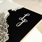 Black Peacock Laser Cut Pocket With Foil - Engagement Invitations - 18