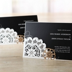 White laser cut poclet in floral patterns and black inner paper with digital printing