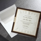 Brown hard layered wedding card with white envelope, silver liner