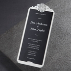 Black inner card white pocket with vintage flower design at the top digital printed pocket invite