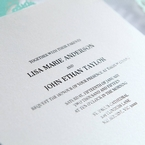 Thermography printing on white pearl paper outside the laser cut sleeve