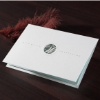 Letter fold white wedding invitation, jewel embellished, laser cut cover, foil stamping and silk screening