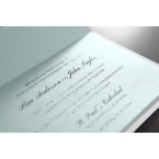 Vertical opening wedding invitation in white, swarovski, foild printed cover