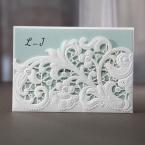 Floral laser cut pocket wedding invite, tiffany blue inner paper,