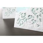White floral laser cut pocket detail, corner cropped, tiffany blue inner paper