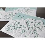 Floral design, laser cut pocket invitation, tiffany blue inner paper