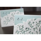 Cropped inner card, floral pocket invitation, monogram