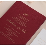Burgundy Letterpress with Foil - Wedding Invitations - WP001CC-FB - 183874