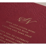Burgundy Letterpress with Foil - Wedding Invitations - WP001CC-FB - 183876