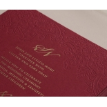 Burgundy Letterpress with Foil - Wedding Invitations - WP001CC-FB - 183877