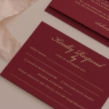 Burgundy Letterpress with Foil - Wedding Invitations - WP001CC-FB - 183881