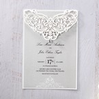 Silver/Gray Jeweled Romance Laser Cut - Wedding invitation - 0