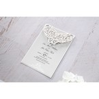 Light grey insert card with black ink lettering and intricate lasercut flap adorned with a delicate crystal jewel