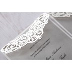 Victorian themed lasercut pattern on the white matte backing card flap, decorated with a shiny crystal stud