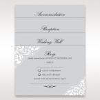 Matching cards in grey with white Victorian themed border design, digitally printed in black lettering