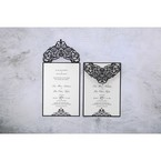 Two invites with black backing layer with a sophisticated laser cut flap embellished with a crystal